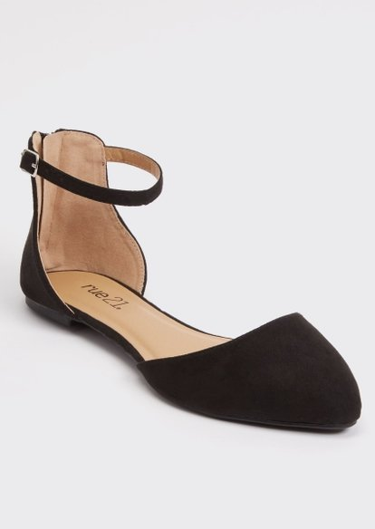 black ankle strap d'orsay flats - Main Image