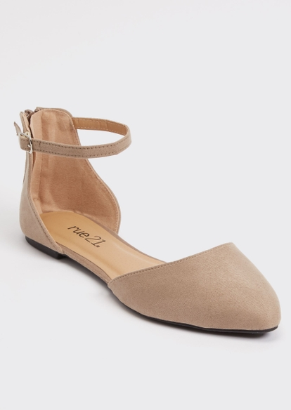taupe ankle strap d'orsay flats - Main Image