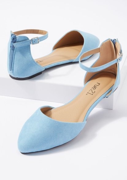blue ankle strap d'orsay flats - Main Image