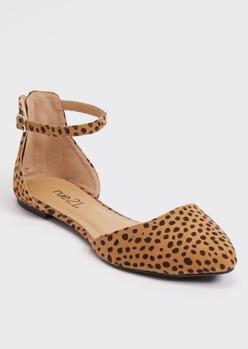 cheetah print ankle strap d'orsay flats - Main Image