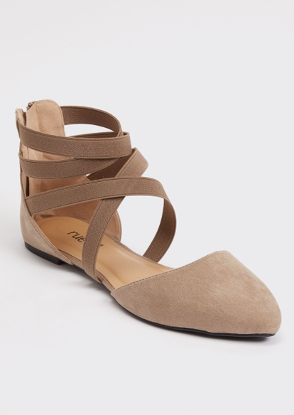 taupe strappy d'orsay flats - Main Image