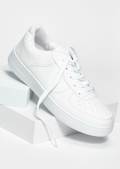 white pull on lace up sneakers - Main Image