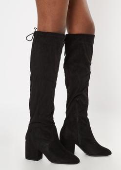 black over the knee block heel boots - wide width - Main Image