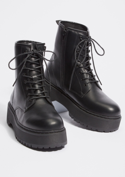 black wide width chunky faux leather combat boots - Main Image