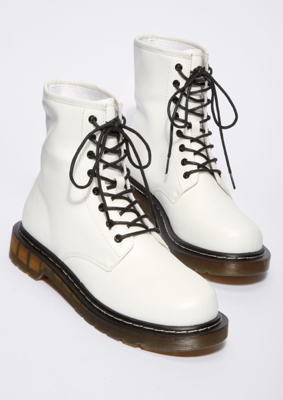 white wide width chunky faux leather combat boots - Main Image