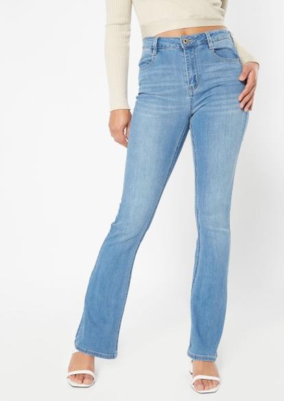 medium wash high rise long length bootcut jeans - Main Image