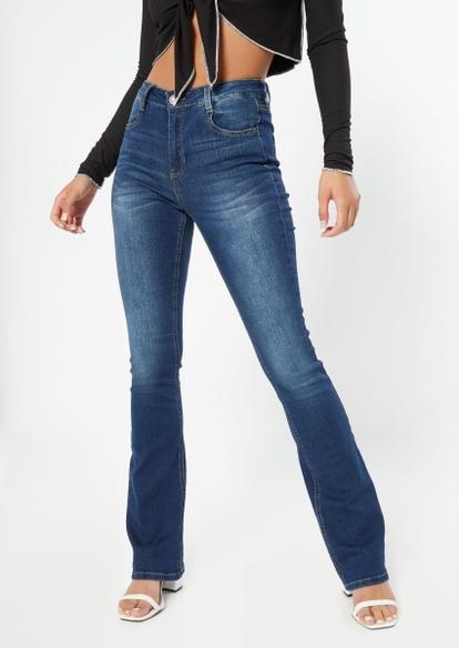 dark wash high rise long length bootcut jeans - Main Image