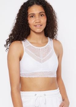 white fishnet lace high neck bralette - Main Image