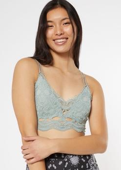 light green wavy crochet crisscross bralette - Main Image