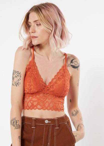 burnt orange floral crochet crisscross bralette - Main Image