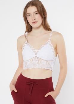 white scalloped crochet longline bralette - Main Image