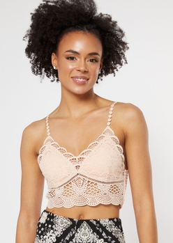 pink scalloped crochet longline bralette - Main Image