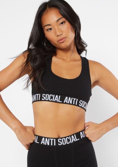 black scoop neck antisocial active bra - Main Image