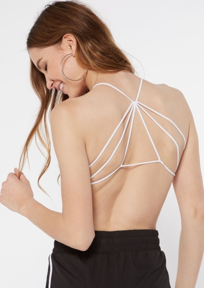 white seamless strappy back bralette - Main Image