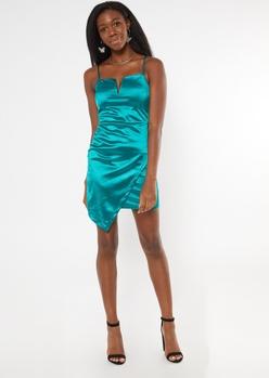 teal v wire asymmetrical slip dress - Main Image