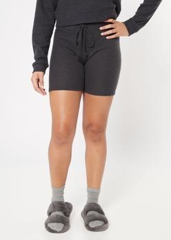 charcoal gray soft hacci knit bike shorts - Main Image