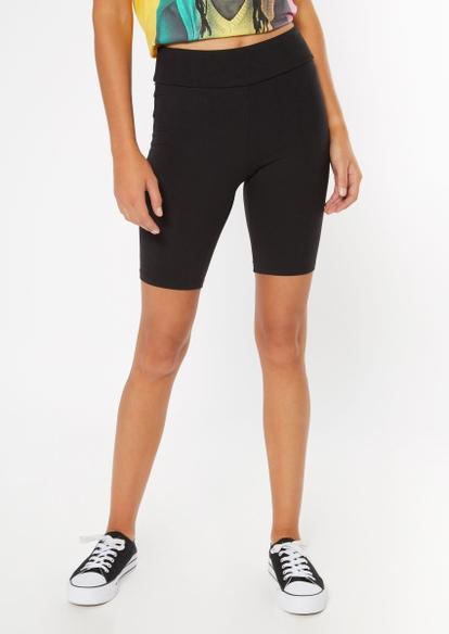 black super soft ruched bike shorts - Main Image