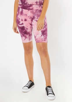 purple tie dye bike shorts - Main Image