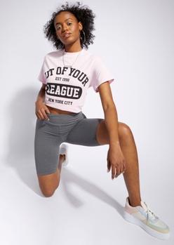 heather gray essential bike shorts - Main Image