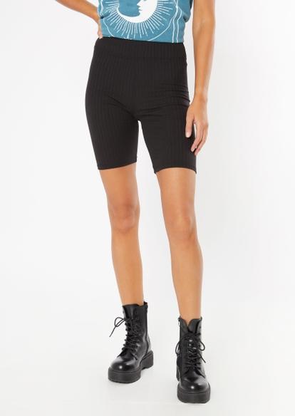 black super soft ribbed bike shorts - Main Image