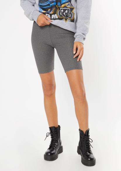 heather gray super soft ribbed bike shorts - Main Image
