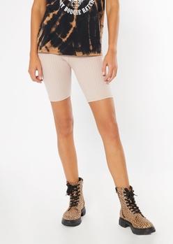taupe super soft ribbed bike shorts - Main Image