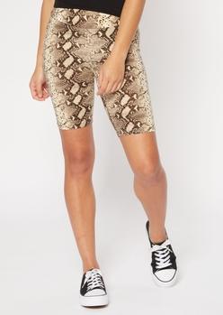 snakeskin print super soft bike shorts - Main Image