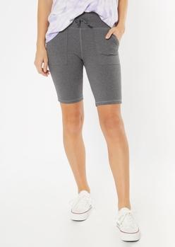 gray front pocket bike shorts - Main Image