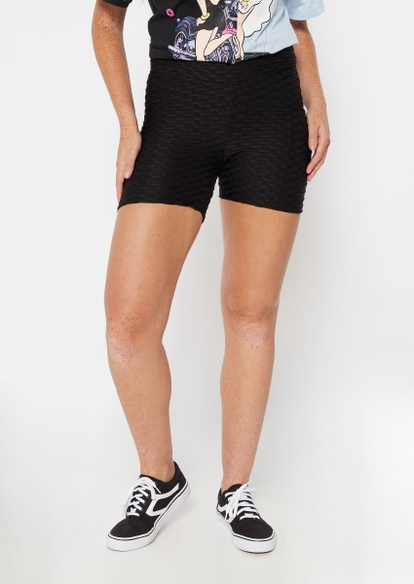 black ruched back honeycomb shorts - Main Image