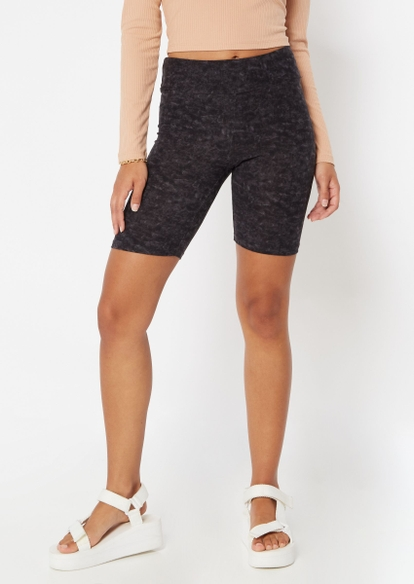 black mineral wash bike shorts - Main Image