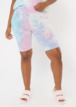 pastel rainbow tie dye bike shorts - Main Image