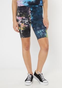 black rainbow tie dye bike shorts - Main Image