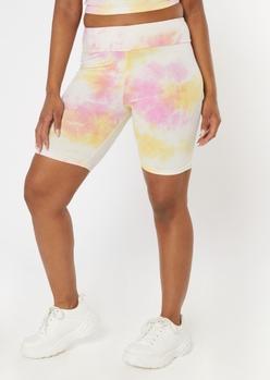 yellow tie dye cotton bike shorts - Main Image