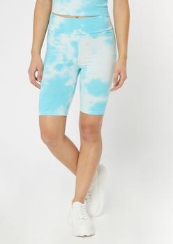 light blue tie dye bike shorts - Main Image