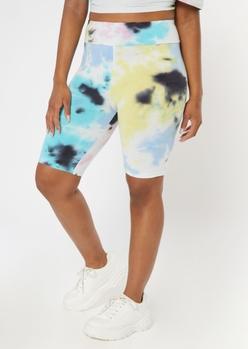 blue tie dye cotton bike shorts - Main Image