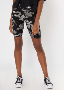black dragon print super soft bike shorts - Main Image