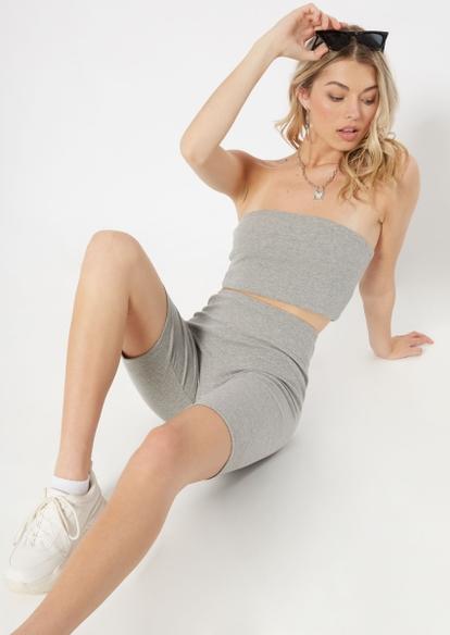 heather gray ribbed knit bike shorts - Main Image