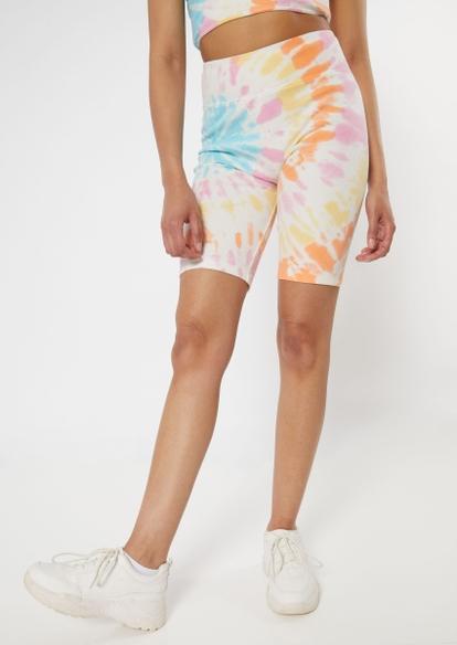 rainbow tie dye ribbed knit bike shorts - Main Image