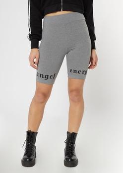 heather gray angel energy bike shorts - Main Image