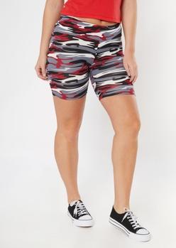 red super soft camo print bike shorts - Main Image