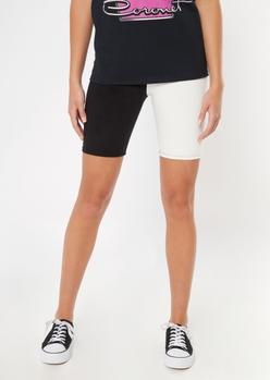 black white colorblock bike shorts - Main Image
