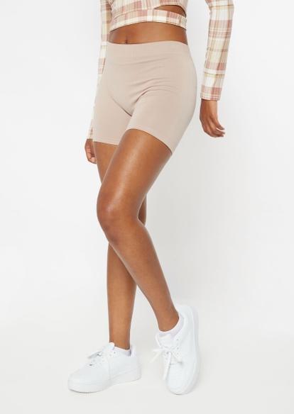 stone tan seamless ribbed knit short bike shorts - Main Image