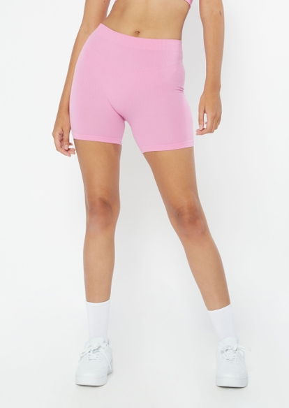 pink seamless ribbed knit short bike shorts - Main Image