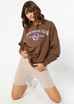 stone tan seamless ribbed knit bike shorts - Main Image