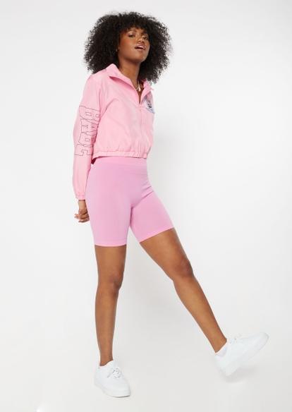 pink seamless ribbed knit bike shorts - Main Image