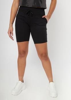 black tied waist long bike shorts - Main Image