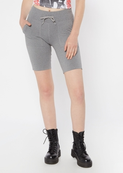 gray tied waist long bike shorts - Main Image