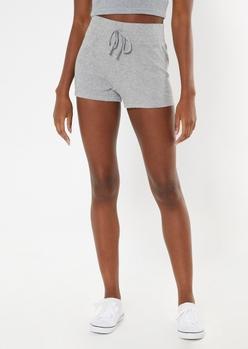 heather gray ribbed super soft hacci shorts - Main Image