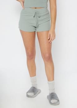 sage green ribbed knit hacci shorts - Main Image