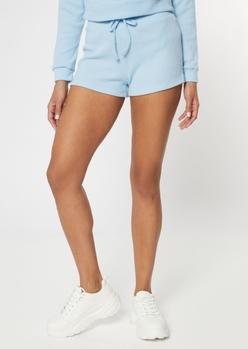 light blue ribbed knit hacci shorts - Main Image